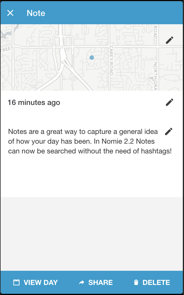 Nomie 2.2 Note view
